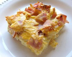 McMuffin Casserole  - canadian bacon, english muffins, cheddar cheese, eggs and milk - try with maple syrup