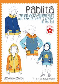 Papierschnitt in den Gr. 86 bis 164 Raglanjacke Pablita für Girls Pablita ist eine körpernah, leicht tailliert geschnittene Raglanjacke und kann aus Jersey, Sweat oder Nicky genäht werden. Durch die vielen stylischen Details bietet...