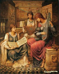 The Music of a Bygone Age Artwork by John Melhuish Strudwick Hand-painted and Art Prints on canvas for sale,you can custom the size and frame