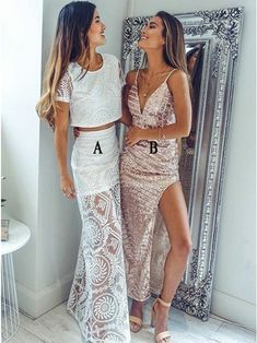 Two Piece Round Neck Short Sleeves White Lace Prom Dress