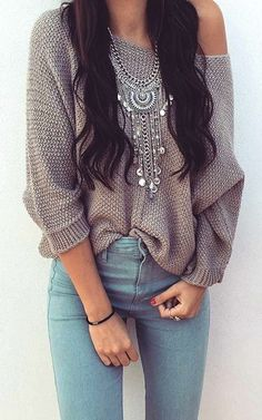 #winter #outfits  gray knitted off-shoulder top and blue jeans