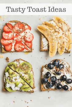 10 Tasty Toast Ideas 10 power-packed toast ideas that will give you a boost of energy and help you start your day off on the right foot! Easy-to-make breakfast toast ideas. Easy To Make Breakfast, Healthy Breakfast Recipes, Healthy Snacks, Healthy Recipes, Kiwi Recipes, Healthy Breads, Oven Recipes, Breakfast Toast, Breakfast Ideas