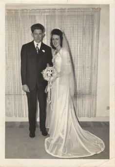 Bourland,-Leslie--Rosalie 11-15-45-001  parachute wedding dress <3 #oldfashionedromance #love