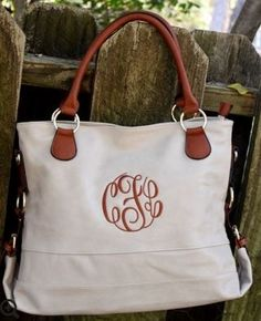The Jesse Tote - Beige with Monogram