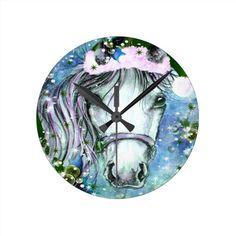 Holiday Horse Blue Round Wall Clock