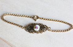 Delicate Filigree Rose Bracelet by diamentdesigns on Etsy