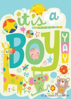 baby boy card /  Jill Howarth Illustration