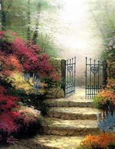 (usa) Stairway to Heaven by Thomas Kinkade (1958- 2012). The painter of Light.