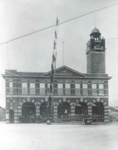 Photo of Calgary first fire station. It's now a Budget car rental office.