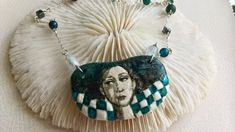 Turquoise and White Necklace Porcelain Pedant Sterling Silver Brass Necklace, White Necklace, Sterling Silver Necklaces, Tassel Necklace, Unique Necklaces, Woman Face, Porcelain, Turquoise, Gemstones
