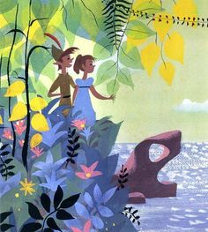 "Mary Blair - ca. 1951 Concept art for Disney's ""Peter Pan"" (1953) - Opaque watercolor on paper"