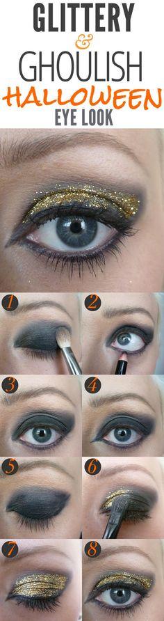 TUTORIAL – Glittery and Ghoulish Halloween Eye Makeup #makeup #eyeshadow #beauty