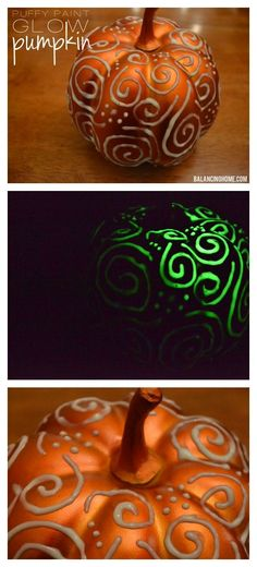 Puffy painted glow in the dark pumpkin.