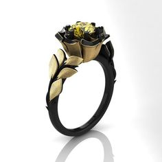 Decorum Floral 14K Black and Yellow Gold 1.0 Ct by DecorumRings
