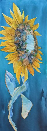 """Rising Up"" Watercolour Collage embellished 30"" x 10"""