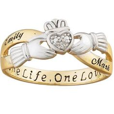 Sterling Silver Claddagh Two-Tone Couples Personalized Name Ring with Diamond Accent
