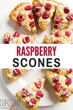 These raspberry scones are buttery, tender, lightly sweetened, and irresistible. They are made with fresh raspberries and topped with a lemon glaze. Breakfast Pastries, Breakfast Recipes, Scone Recipes, Raspberry Scones, Kids Meals, Food Print, Brunch, Tea Time, Treats