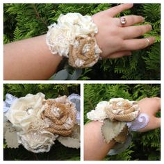 Wedding wrist corsage - burlap ivory boho rustic vintage eco recycled pearls lace natural by @Beautiful Again Bridal
