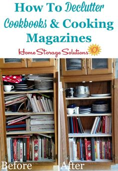 How to declutter cookbooks and cooking magazines, with criteria to consider plus lots of before and after photos to get you inspired {a #Declutter365 mission on Home Storage Solutions 101}