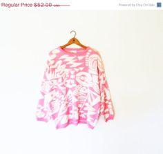 SUPER SALE 30% OFF Vintage Bubblegum Pink Geometric Oversized Sweater / 80s New Wave Abstract Sweater / Bubblegum Pink Avant Garde Slouchy S...