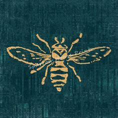 Bee Print Wall Art Bee Home Decor Antique Artwork in Vintage Tan with Blue Green Script Paper Background No.1564 B35 8x8 8x10 11x14 @ sparrowhouseprints.etsy.com