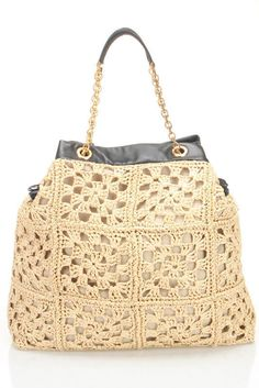 D&G Uncinetto Rafia Shopping Tote In Sand And Black