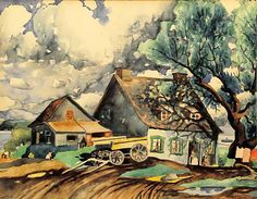 Maison à St-Eustache (c. 1933) - Marc-Aurèle Fortin Watercolor Landscape, Watercolour Painting, Montreal Museums, Canadian Painters, Z Arts, Sculpture, Museum Of Fine Arts, Art Studies, Art Oil