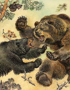 Animal Paintings, Animal Drawings, Art Drawings, Art Illustration Vintage, Art D'ours, Bear Tattoos, Art Japonais, Bear Pictures, Bear Art