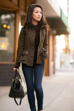 Casual Peplum :: Olive jacket & Croc stamped wedges : Wendy's Lookbook