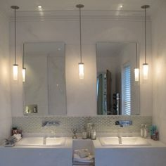 pendant lights on either side of mirror - Google Search