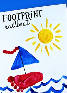 Have your kids make these cute footprint sailboat crafts! It's the perfect art project in the summer or learning about boats. All you need is paint and a marker.