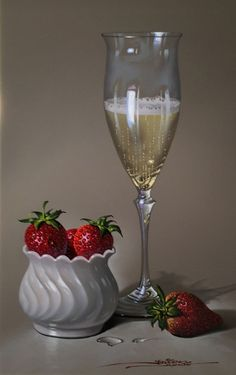 CHAMPAGNE-&-STRAWBERRIES   - by Javier Mulió, known simply as Javier to collectors around the world