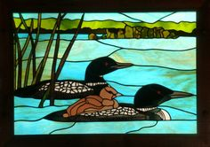 Loons on Deer Lake Stained Glass Mirror, Stained Glass Paint, Stained Glass Birds, Stained Glass Designs, Stained Glass Projects, Stained Glass Patterns, Stained Glass Windows, Fused Glass, Mosaic Art