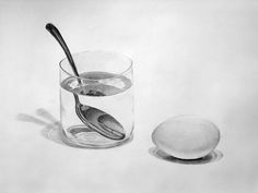 Egg, Glass and Spoon by einai on DeviantArt Spoon Drawing, Object Drawing, Water Sketch, Water Drawing, Pencil Shading, Pencil Drawings, Intro To Art, Sketch Inspiration, Sketch Ideas