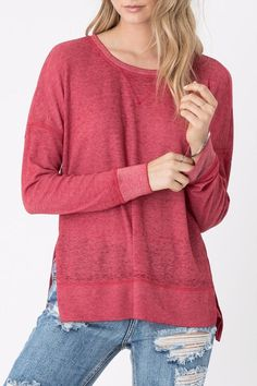 Say hello to your new favorite thermal. This waffle thermal is made from our signature burnout fabric, and features a ribbed neckline and cuff, and high side slits. This lightweight long sleeve tee is perfect for layering when the temperatures drop.   Emerson Thermal Top by Z Supply. Clothing - Tops - Long Sleeve Philadelphia, Pennsylvania