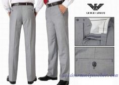 e2e39cdf9b44 Pas Chers Pantalon Homme Giorgio Armani Gris clair Dress Slacks