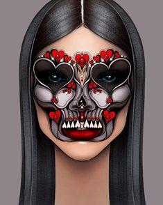 Fx Makeup, Makeup Inspo, Makeup Ideas, Graphic Makeup, Makeup Face Charts, Creative Makeup Looks, Mask Ideas, Digital Art Girl, Crazy Makeup