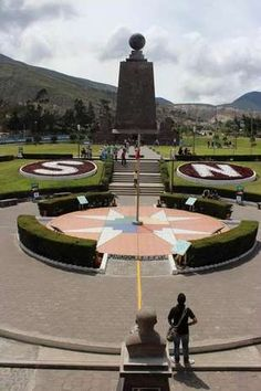 The Mitad del Mundo monument marking the equator just north of Quito, Ecuador.