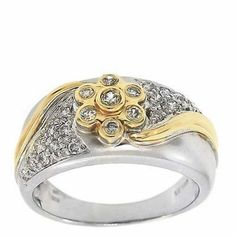0.40 Cttw Round Cut Diamonds Flower Shaped Cocktail Ring in 14K Two Tone Gold by GetDiamondsDirect on Etsy