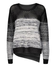 Look what I found on #zulily! Black & Gray Multi-Stitch Asymmetrical-Hem Sweater by Dex #zulilyfinds