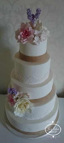 Five Tier Hessian and Lace Wedding Cake | by Jo's Cakes
