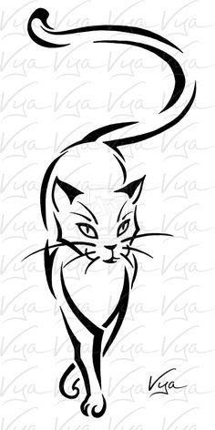 Cool Black Tribal Cat Tattoo Design