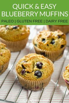 Healthy Snacks These easy paleo blueberry muffins are a healthy& to your meal prep plan! You can& freeze these gluten free muffins that are left over for a quick breakfast or snack. And there's no sugar in these homemade blueberry muffins! Paleo Muffin Recipes, Gourmet Recipes, Snack Recipes, Paleo Recipes For Kids, Flour Recipes, Healthy Recipes, Healthy Baking, Clean Recipes, Brunch Recipes