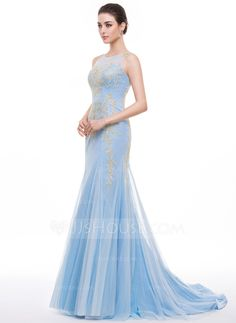 Trumpet/Mermaid Scoop Neck Sweep Train Tulle Prom Dress With Embroidered (018056782) - JJsHouse