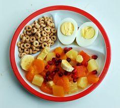 Breakfast: fruit salad, hard-boiled eggs, Cheerios - 365 Day Healthy Food For Teens Healthy Toddler Breakfast, Easy Toddler Meals, Healthy Meals For Kids, Breakfast For Kids, Best Breakfast, Kids Meals, Healthy Snacks, Healthy Recipes, Breakfast Ideas