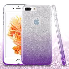 iPhone 7 Plus Phone Case - ASMYNA Purple Gradient Glitter Hybrid Case | AIP7PLUSHPCGT003NP