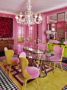 Love this fantastic colorful dining room, designed by Géraldine Prieur…