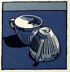 """""""Cwpanau bach (small cups)"""" - 3 colour linocut by Ann Lewis"""