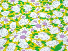 Vintage Fabric  Purple Daisy Flowers on Yellow  By by NehiandZotz, $16.00