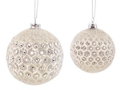 "6ct Winter Light Sparkling Champagne Frosted Jewel Glass Christmas Ball Ornaments 3.5"" - 4.25"" - 31754382"